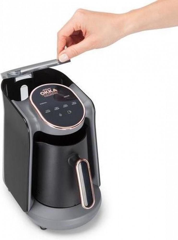 Arzum Okka Grandio Argent | OK005-Krom | Cafetière turque autoportante | Noir et argent | Machine à café turque automatique | 1-4 tasses | Cuisson lente