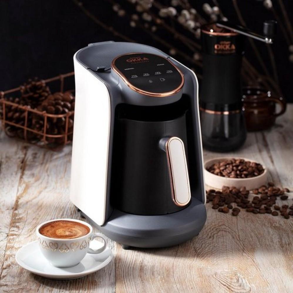 Arzum Okka Grandio Blanc | OK005-Blanc | Cafetière turque autoportante | Noir et blanc | Machine à café turque automatique | 1-4 tasses | Cuisson lente